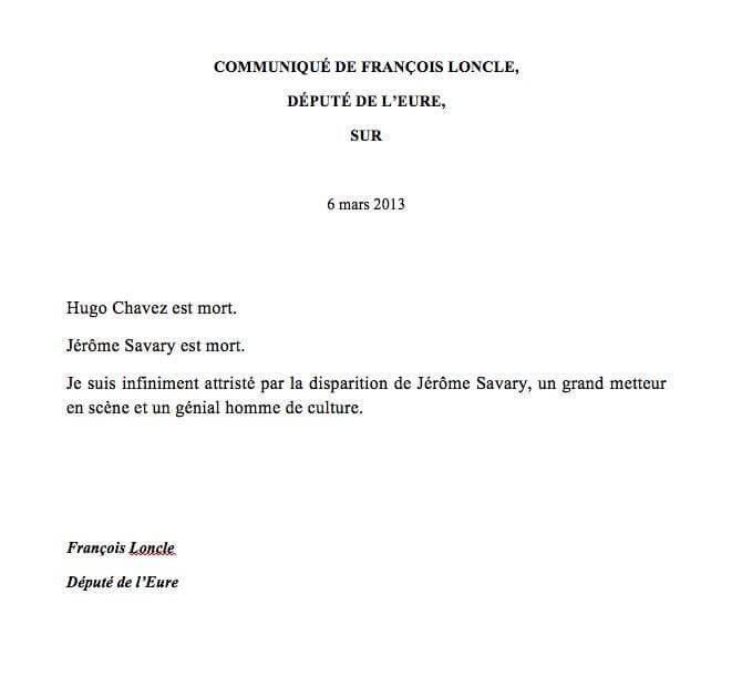 Communiqué de François Loncle, député de l'Eure