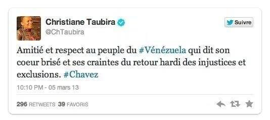 Taubira rend hommage à Chavez