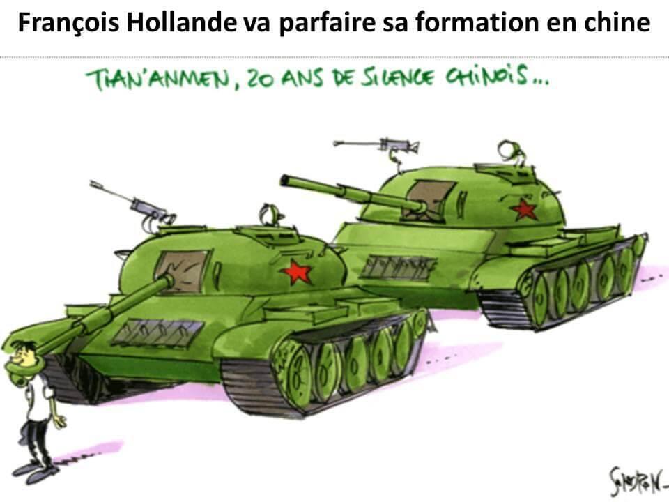 François Hollande arrive à pied par la Chine