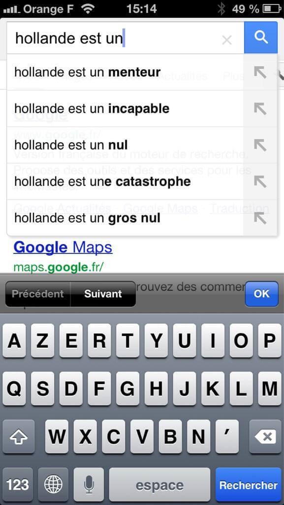 Hollande vu par Google