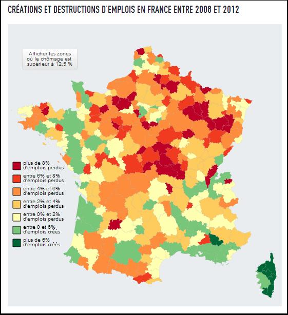 Créations et destructions d'emplois en France entre 2008 et 2012