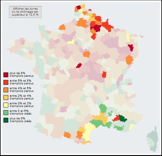 Zones où le chômage est supérieur à 12,5%