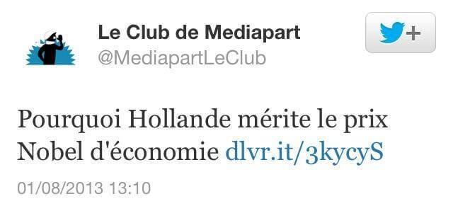 Pourquoi Hollande mérite le prix Nobel d'économie