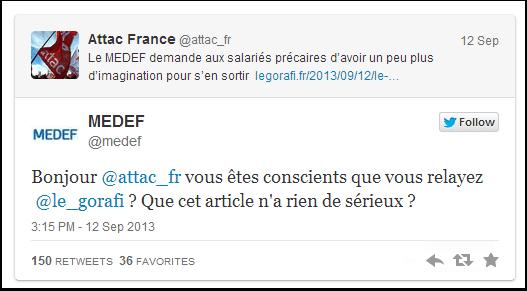 Attac, Le Gorafi et le Medef