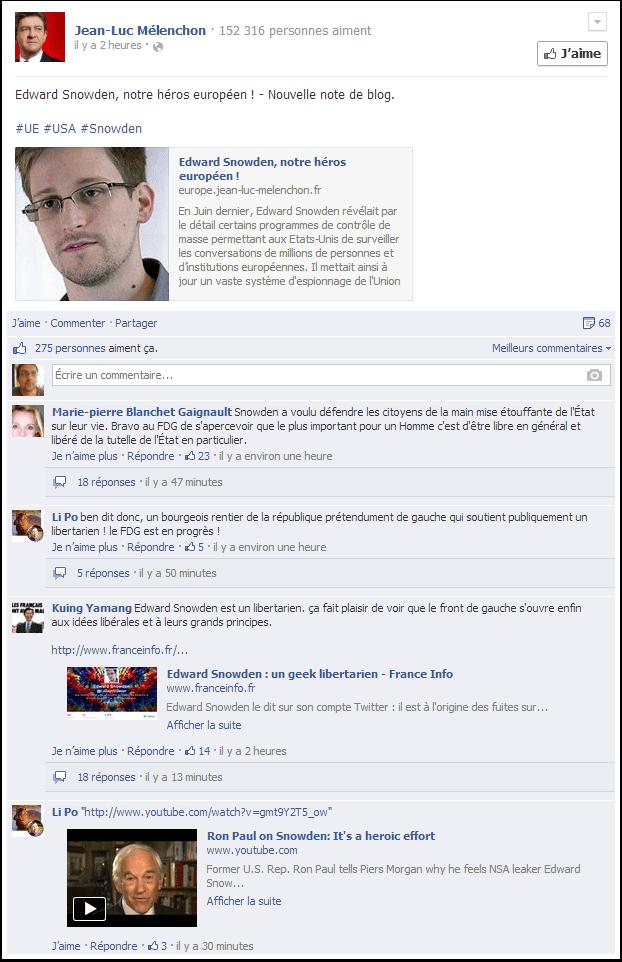 Edward Snowden, le héros de Jean-Luc Mélenchon