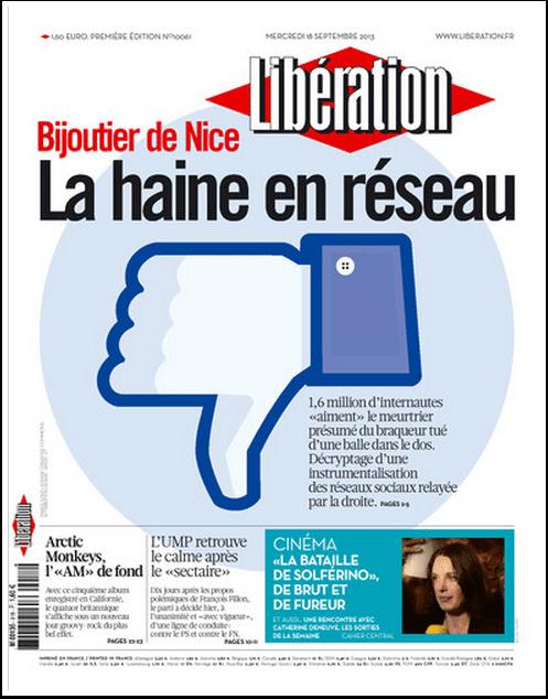 Bijoutier de Nice : la haine en réseau (Une de Libération)
