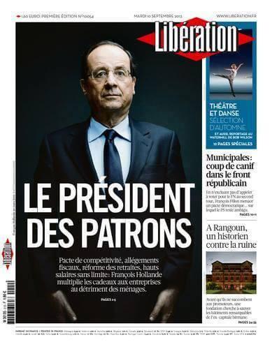 Hollande vu par Libération : le président des patrons