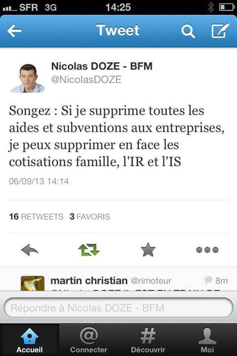 Nicolas Doze fait un rêve
