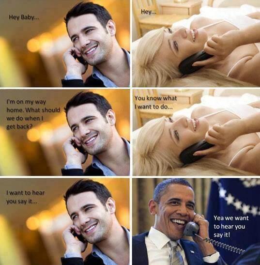 """Obama : """"Yea we want"""""""