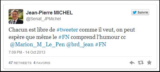 Jean-Pierre Michel espère que le FN comprend l'humour