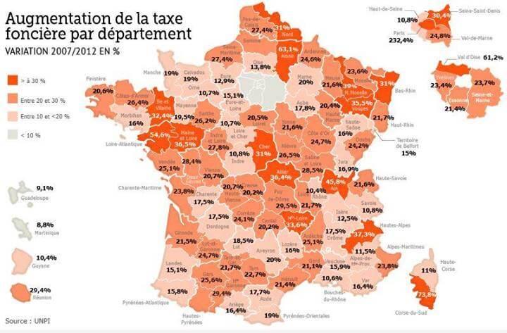 Augmentation de la taxe foncière par département