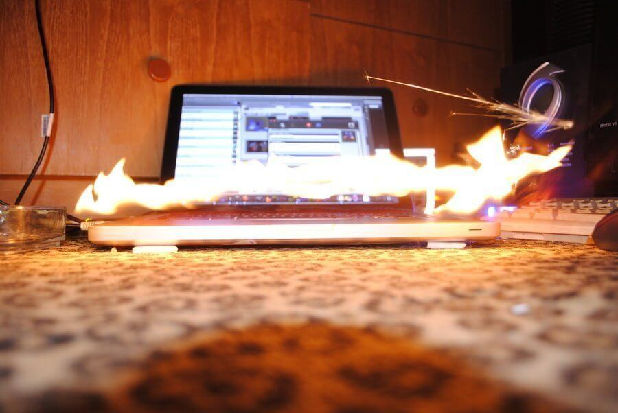 The MacBook is on fire