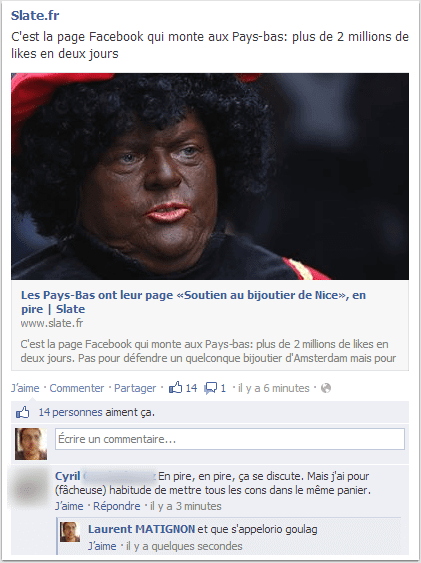 "Une page ""soutien au bijoutier de Nice"". En pire."