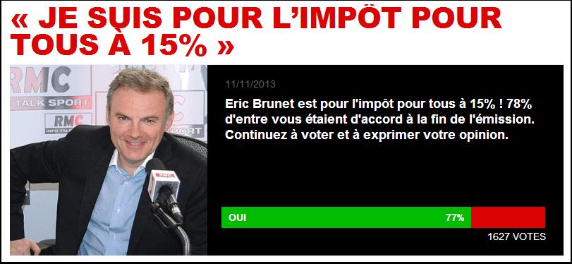 Eric Brunet, pour l'impôt pour tous à 15%
