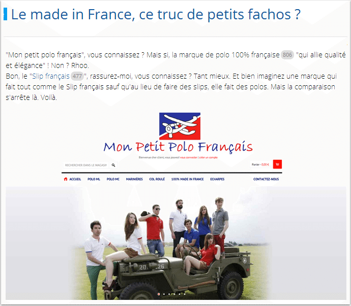 Le made in France, un truc de petit fachos ?