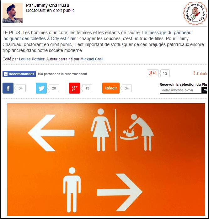 Panneau sexiste dans les toilettes à Orly