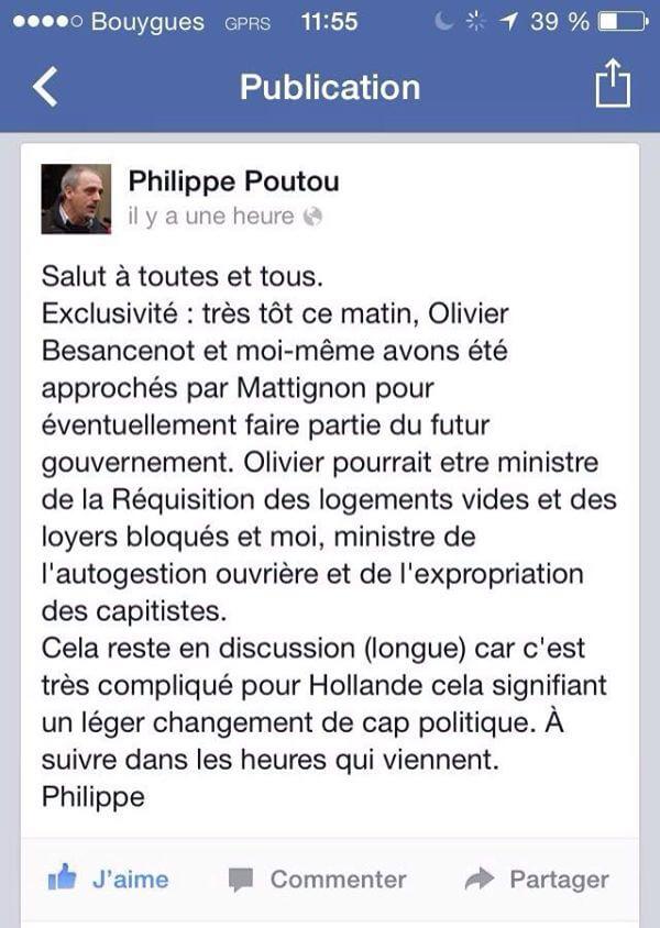 Philippe Poutou, ministre du poisson d'avril