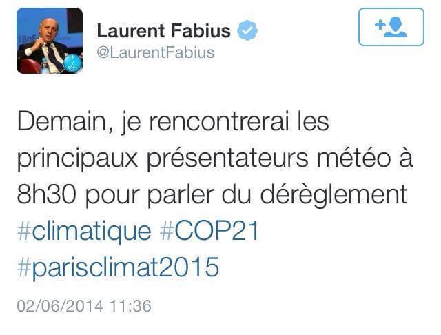 Le dérèglement climatique selon Fabius