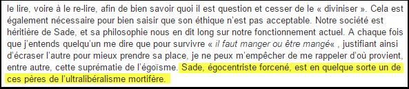 Sade, égocentrique, ultralibéral